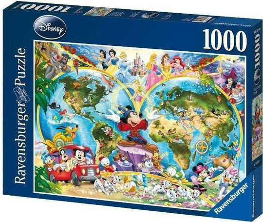 Ravensburger Puslespill Disney Verdenskart 1000 Brikker