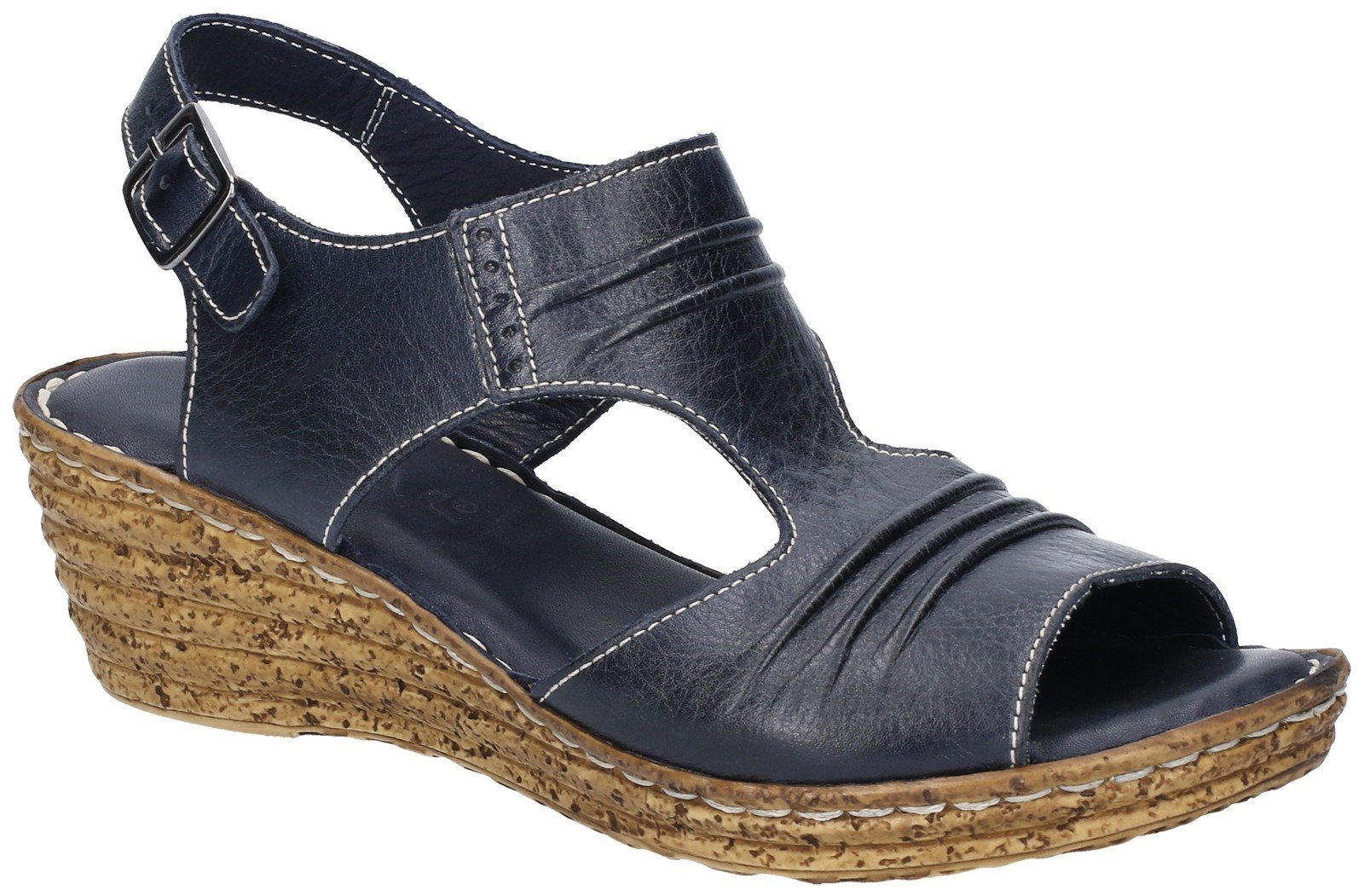 Fleet & Foster Women's Incence Pleated Leather Sandal Various Colours 28272 - Navy 7