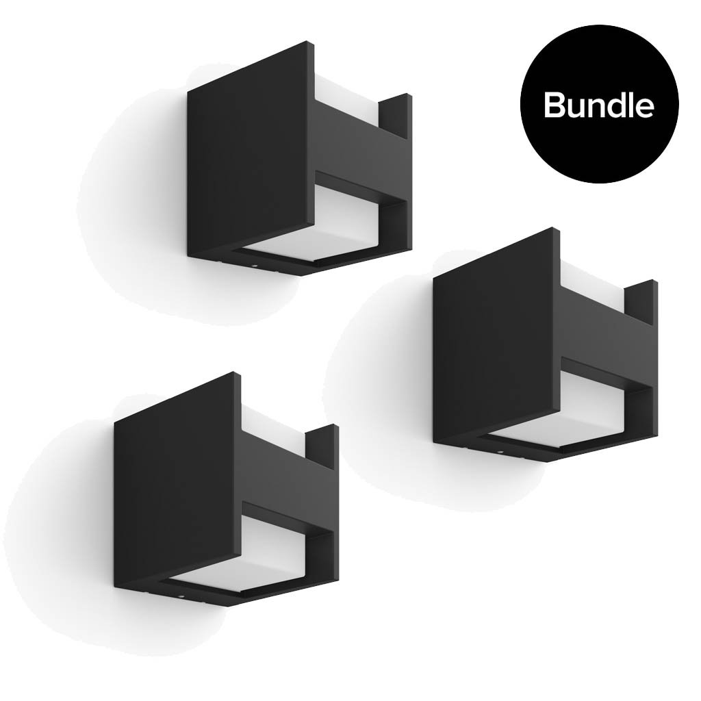 Philips Hue - 3x Fuzo Wall Lantern Black Outdoor - Warm White - Bundle