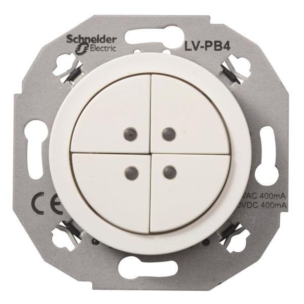 Schneider Electric WDE011072 Pienjännitepainike valkoinen 4-napainen
