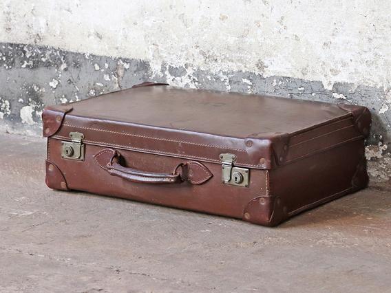 Brown Leather Suitcase Medium