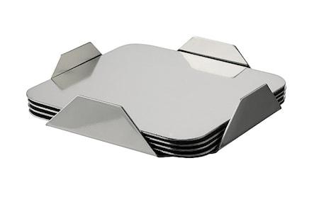 Brannon Glasunderlägg 4-pack i ställning rostfritt