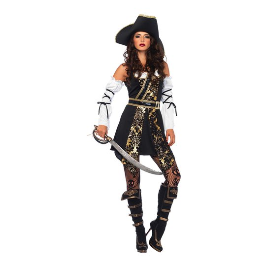 Piratkapten Dam Deluxe Maskeraddräkt - Small