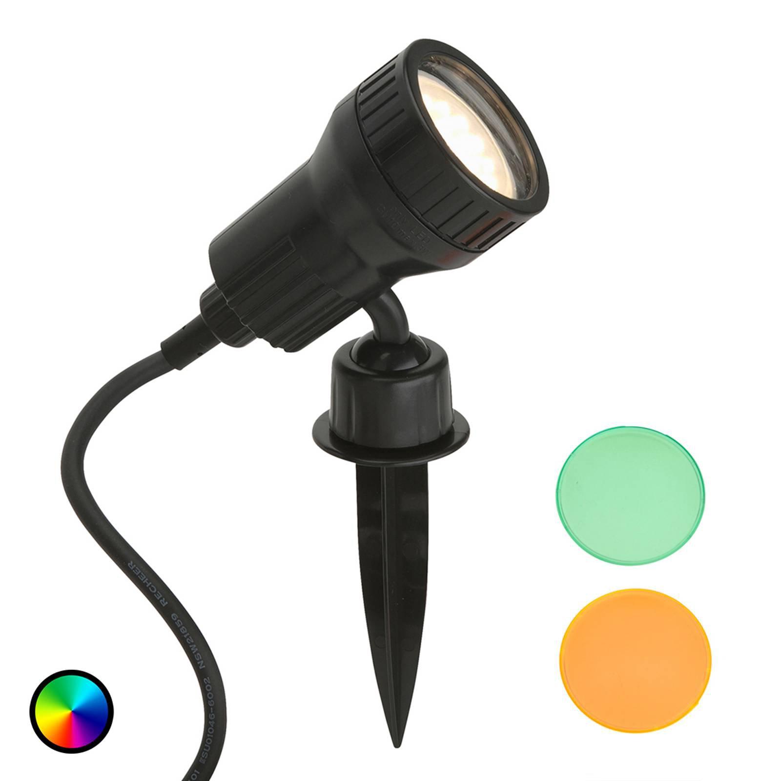 Terra LED-spot med jordspyd og fargefilter