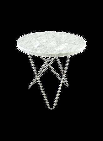 Mini O Table Matt Hvit Marmor med Rustfri Stålramme Ø40