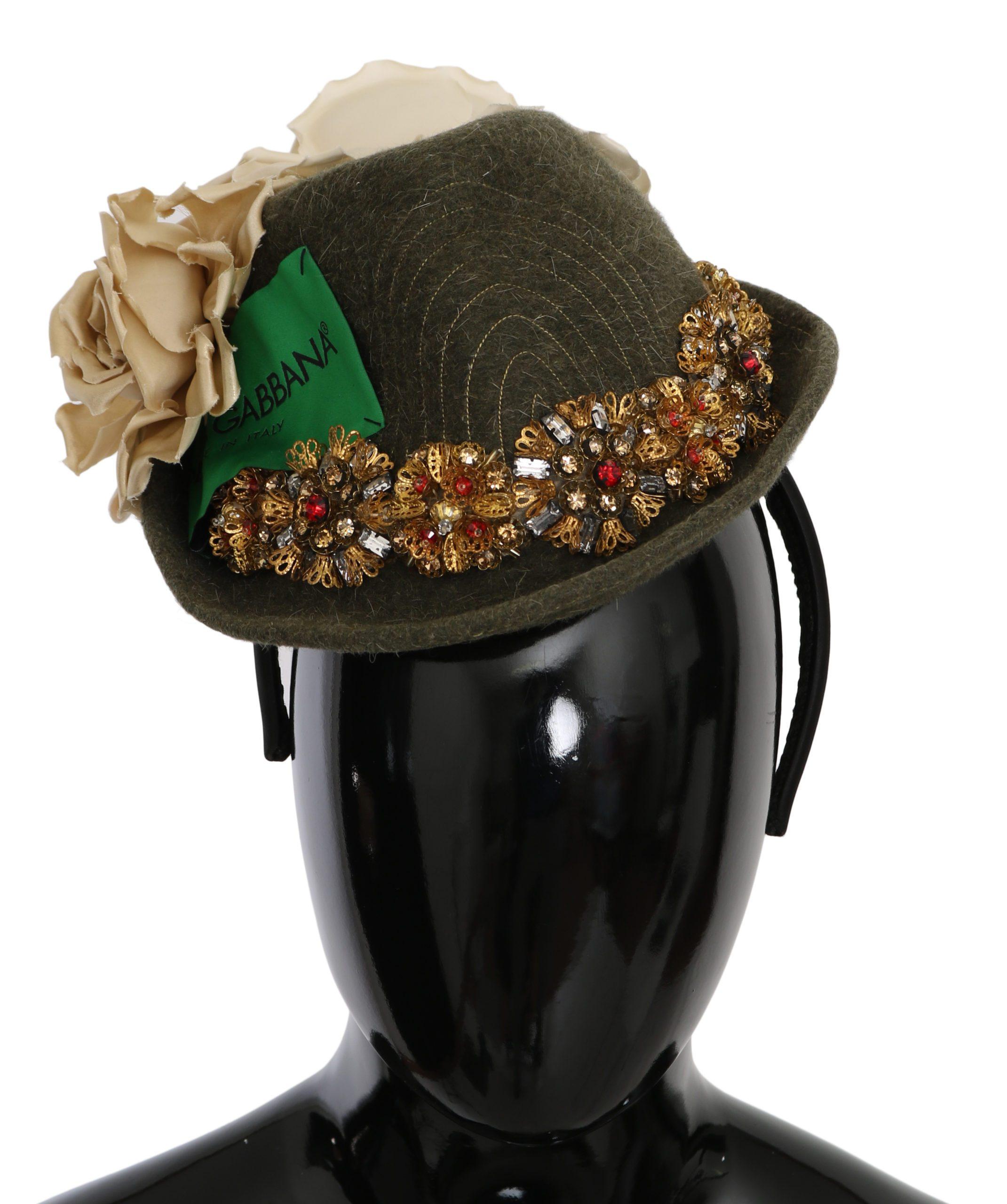Dolce & Gabbana Women's Floral Crystal Studs Tiara Hat Green HAT9062