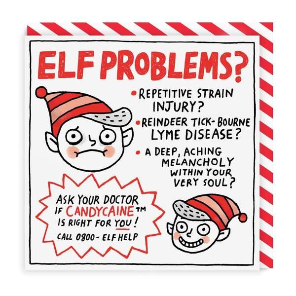 Elf Problems? Square Christmas Card