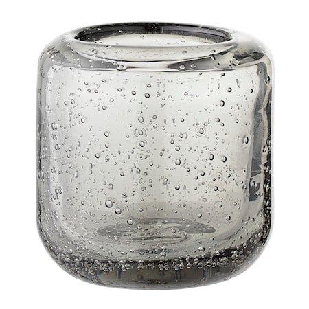 Telysholder Grå Glass 7x7,5cm