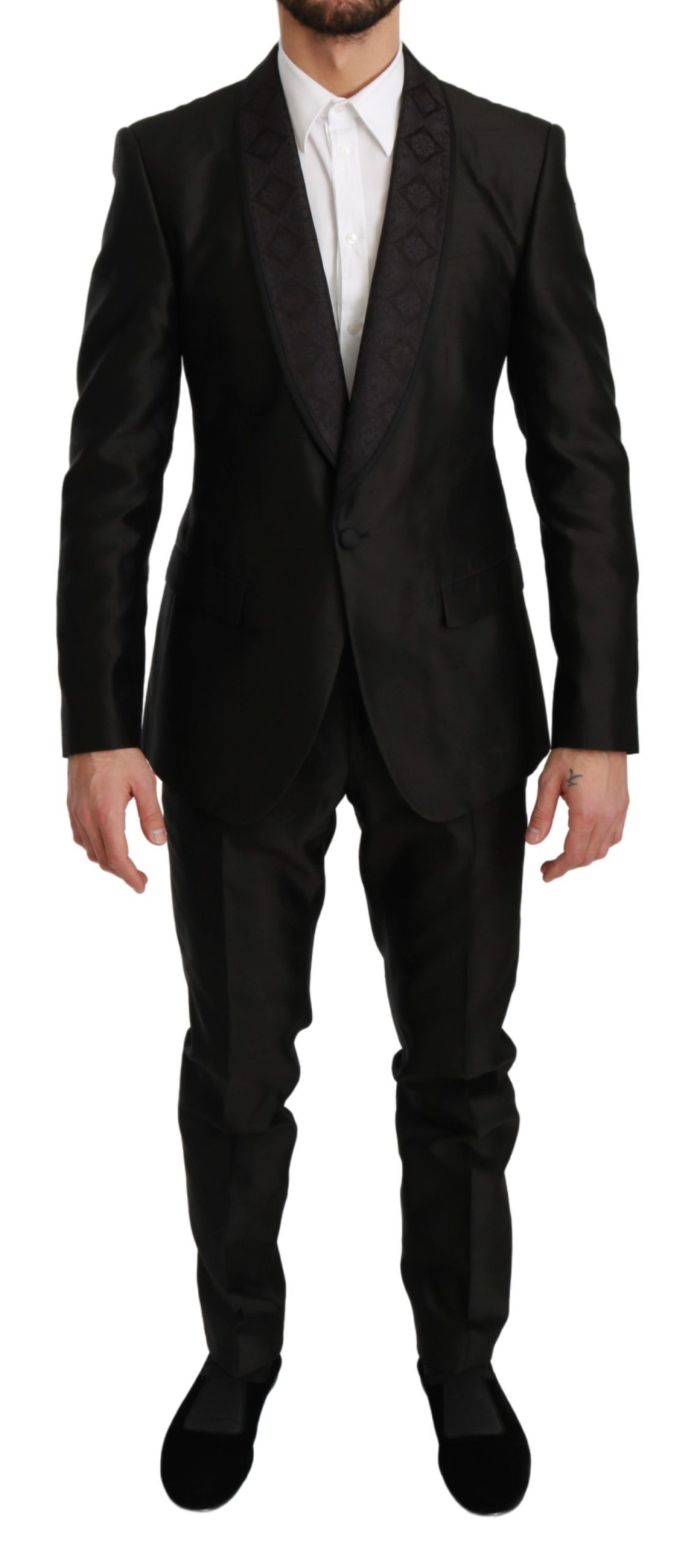 Dolce & Gabbana Men's Slim Fit 2 Piece MARTINI Silk Suit Black KOS1727 - IT48 | M