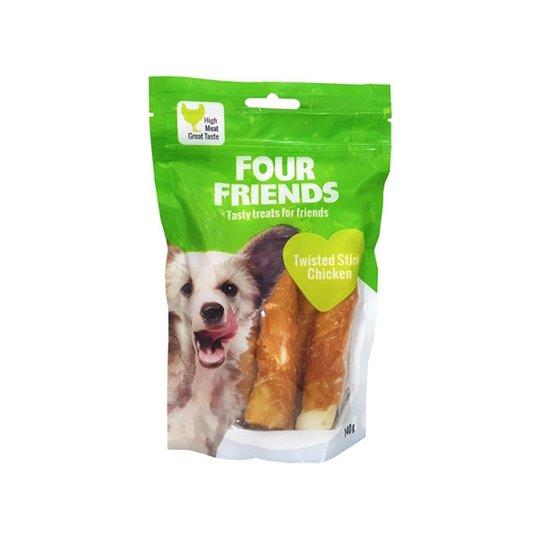 FourFriends Dog Twisted Stick Chicken 12,5 cm (4 pack)