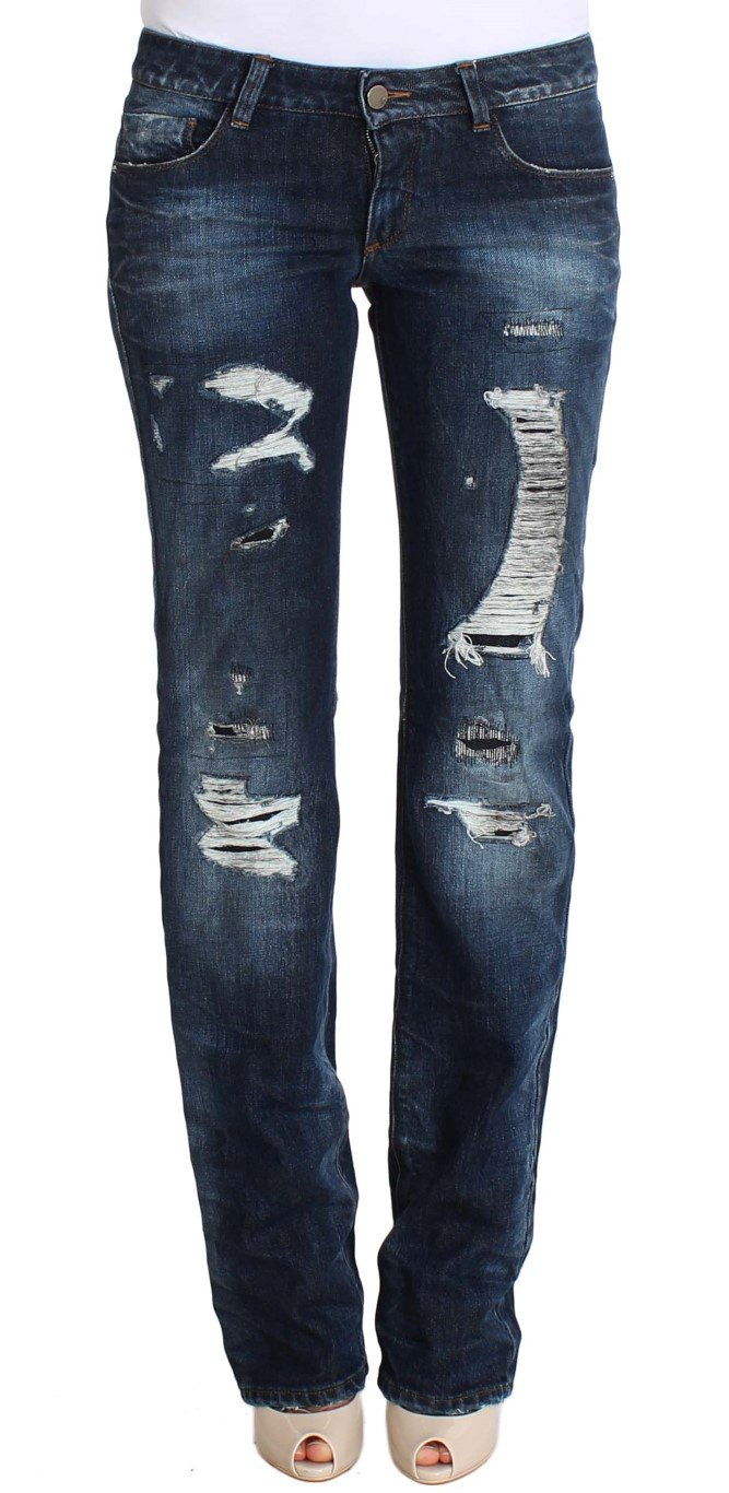 Costume National Women's Cotton Torn Regular Fit Jeans Blue SIG30222 - W26