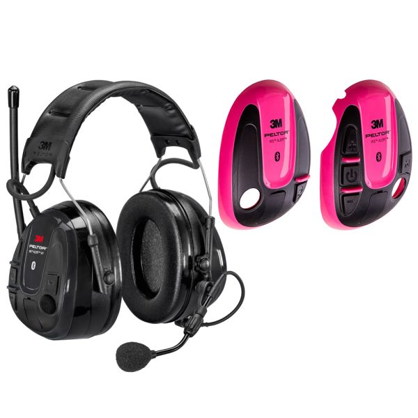 3M Peltor WS Alert XP Hørselsvern med rosa skall, Bluetooth med issebøyle