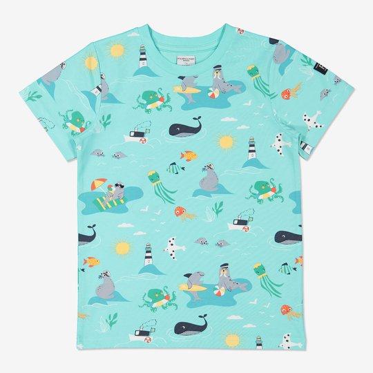T-skjorte med skjærgårdstrykk lysblå