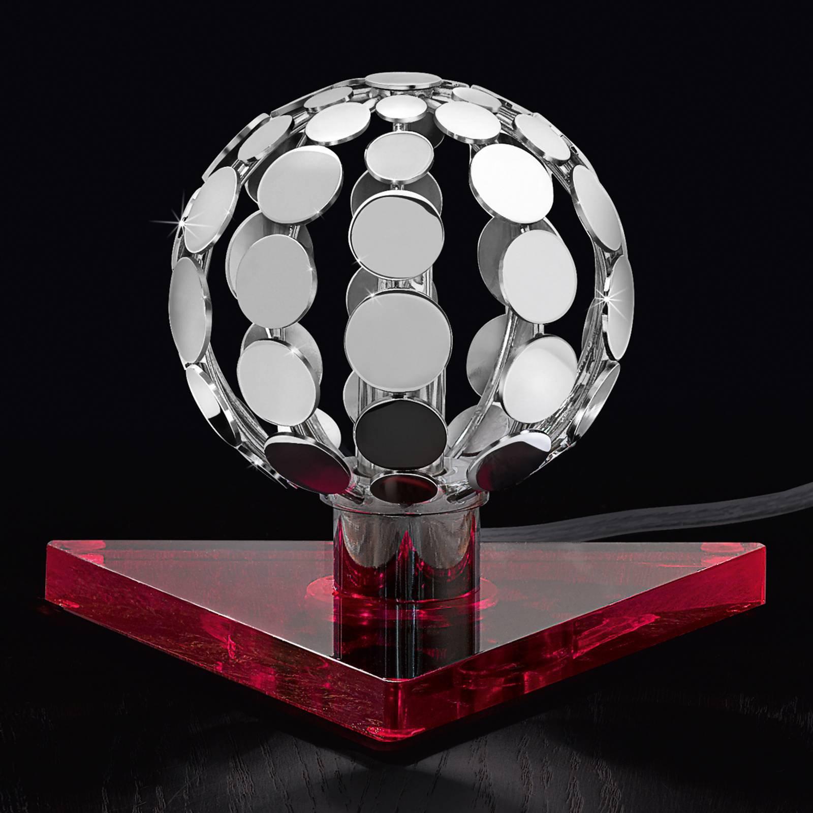 Sfera bordlampe med rød fot, 10 cm