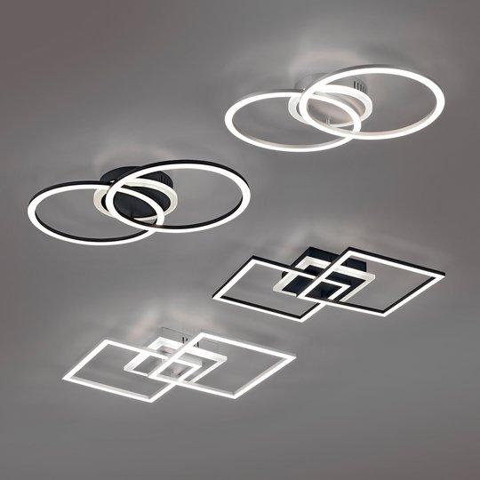LED-taklampe Venida svart, dimbar, to ringer