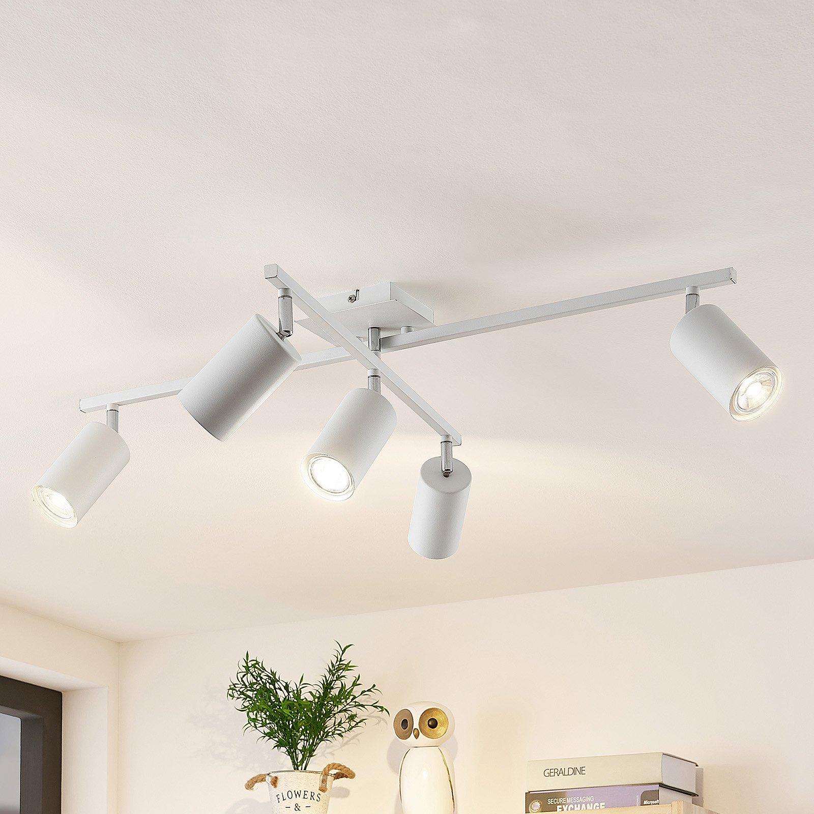 Lindby Ebardo taklampe, fem lyskilder, hvit
