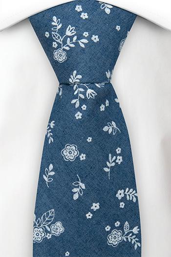 Bomull Slips, Små, skarpe, hvite blomster på denimblått, Blå, Blomster