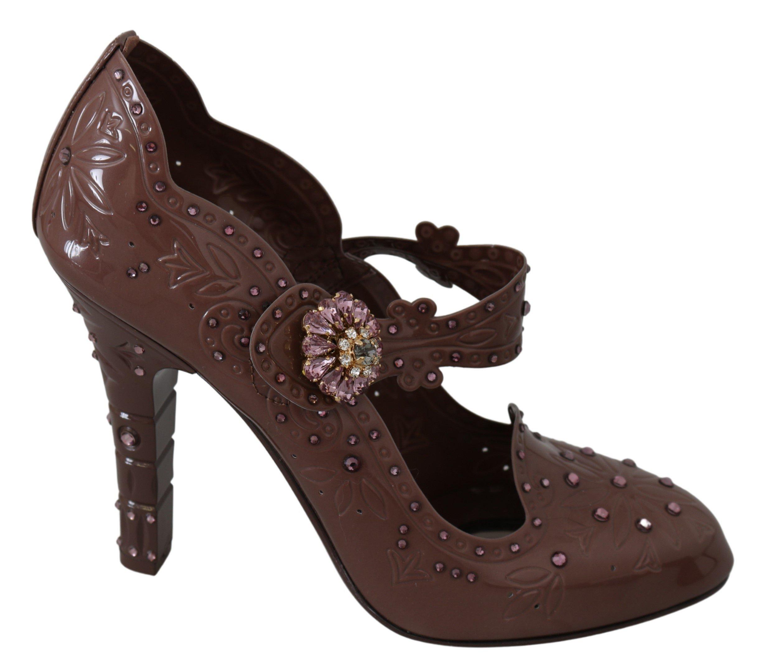 Dolce & Gabbana Women's Floral Crystal CINDERELLA Pumps Brown LA7288 - EU40/US9.5