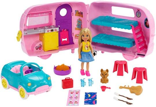 Barbie Club Chelsea Dukke With Camper & Accessories