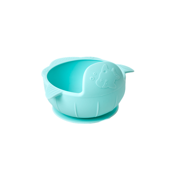 Rice - Silicone Baby Bowl w. Suction Cup Base - Baby Blue
