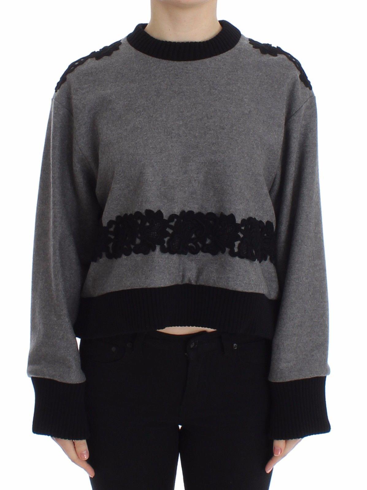 Dolce & Gabbana Women's Lace Wool Cashmere Sweater Gray SIG13181 - IT44 L