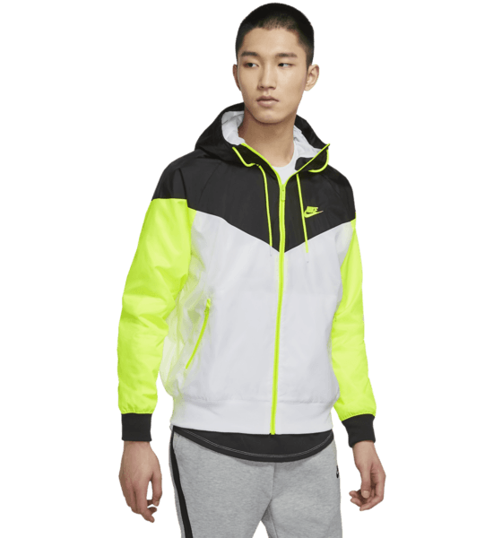 Nike M Nsw He Wr Jkt Hd Jackor WHITE/BLACK/VOLT