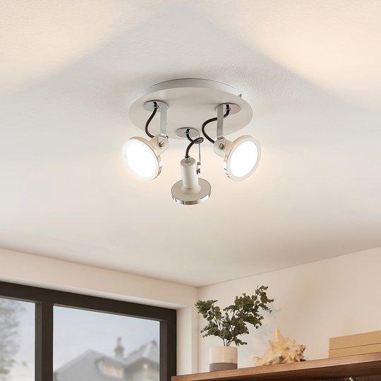 Lindby Theda-LED-spottiplafondi, valk., 3-lamp.
