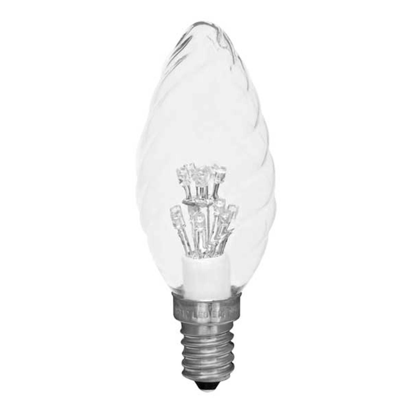 E14 0,9W klar og vridd LED-mignonpære (2600 K)