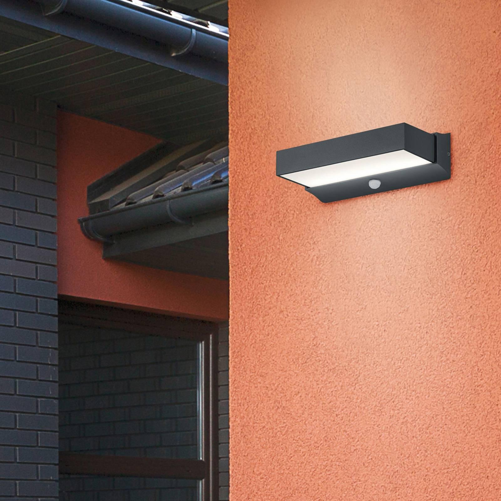 Utendørs LED-vegglampe Cuando med bevegelsessensor