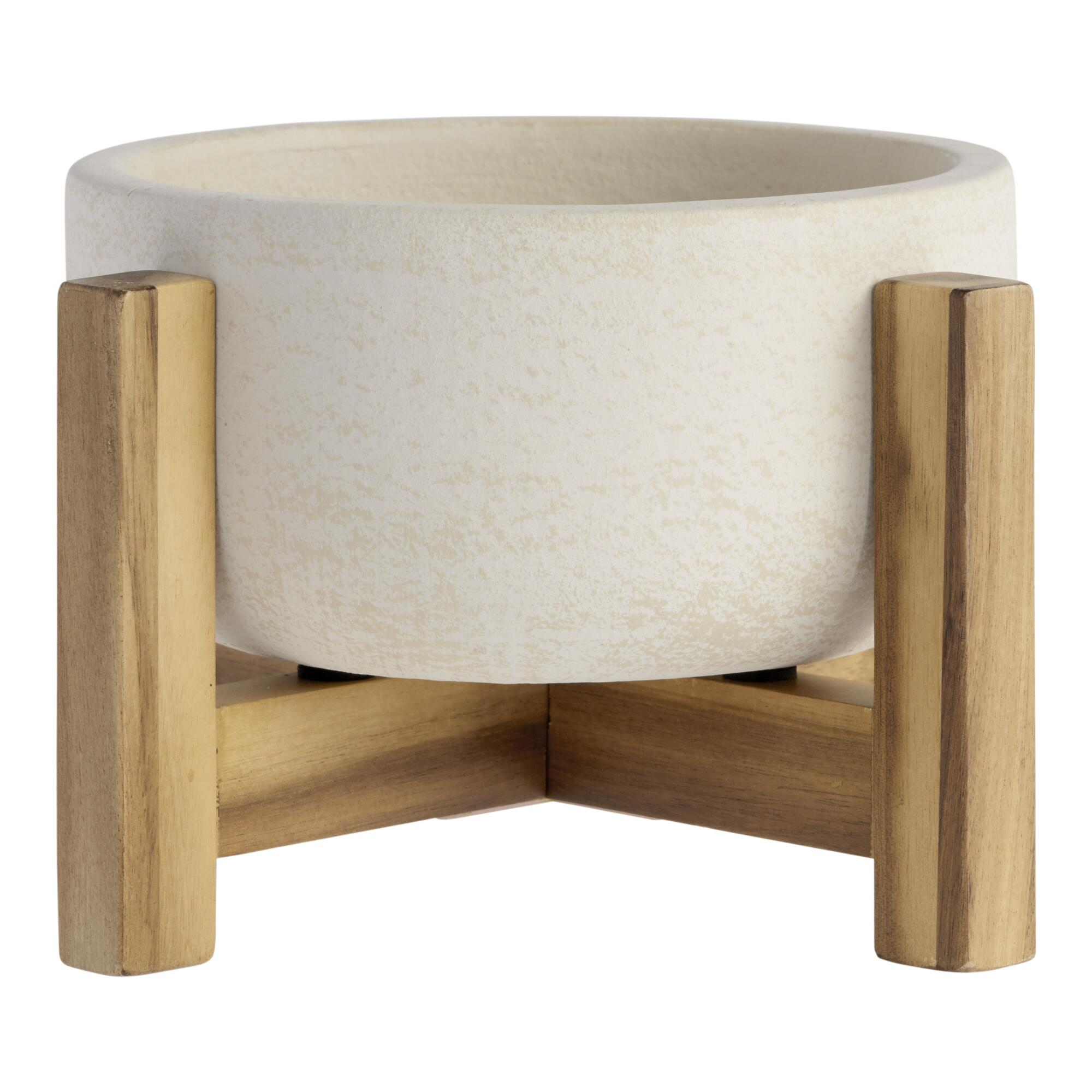 Wide White Ceramic Planter With Wood Stand by World Market
