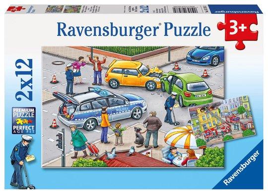 Ravensburger Puslespill Blålys på Vei 2x12 Brikker
