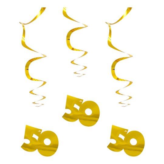 Swirls 50 Guld Hängande Dekoration - 3-pack