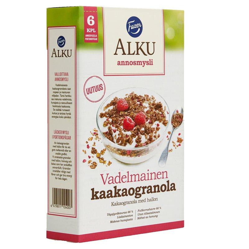 Vadelmainen Kaakaogranola Annosmysli 6kpl - 28% alennus