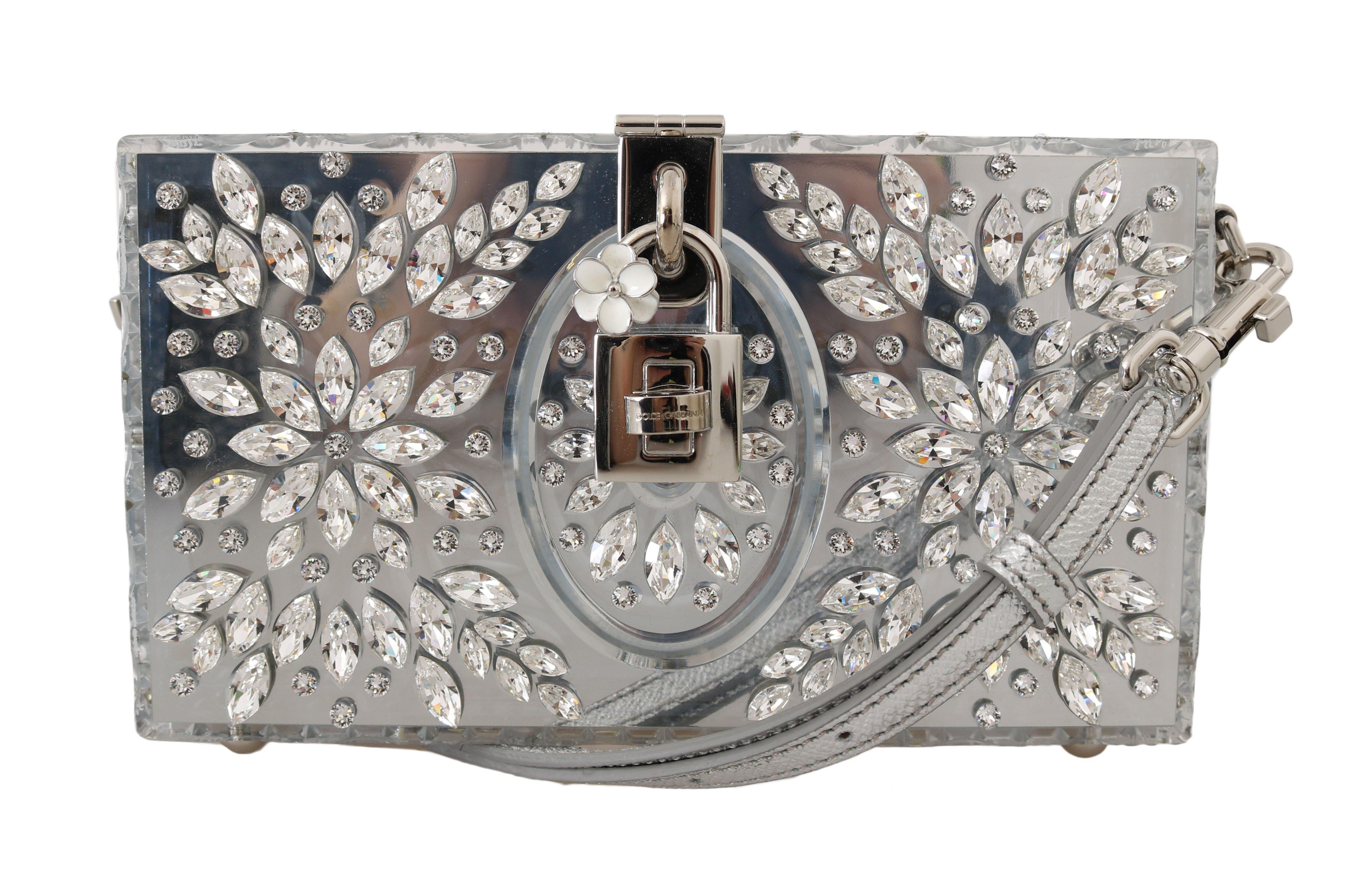 Dolce & Gabbana Women's Plexi Crystal SICILY Clutch Bag Silver VAS15064