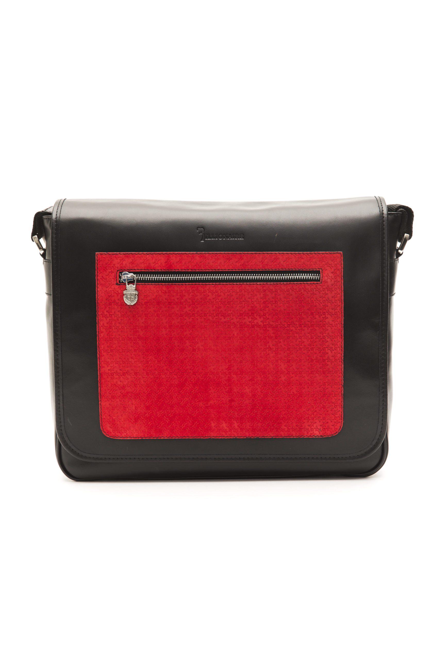 Billionaire Italian Couture Men's Messenger Bag Black BLC50406041A-034CV_BlackRed