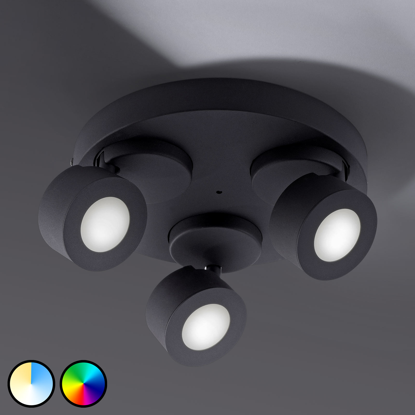 Trio WiZ Sancho -LED-kattovalaisin, 3-lamp. musta