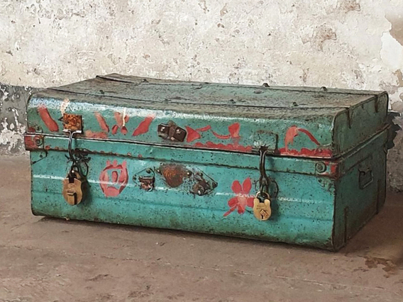 Turquoise Metal Suitcase Green