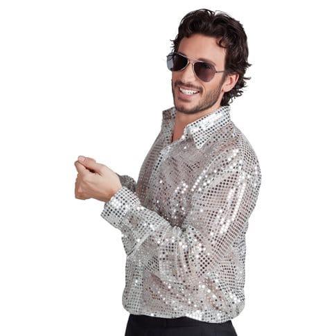 Glitterskjorta silver XL