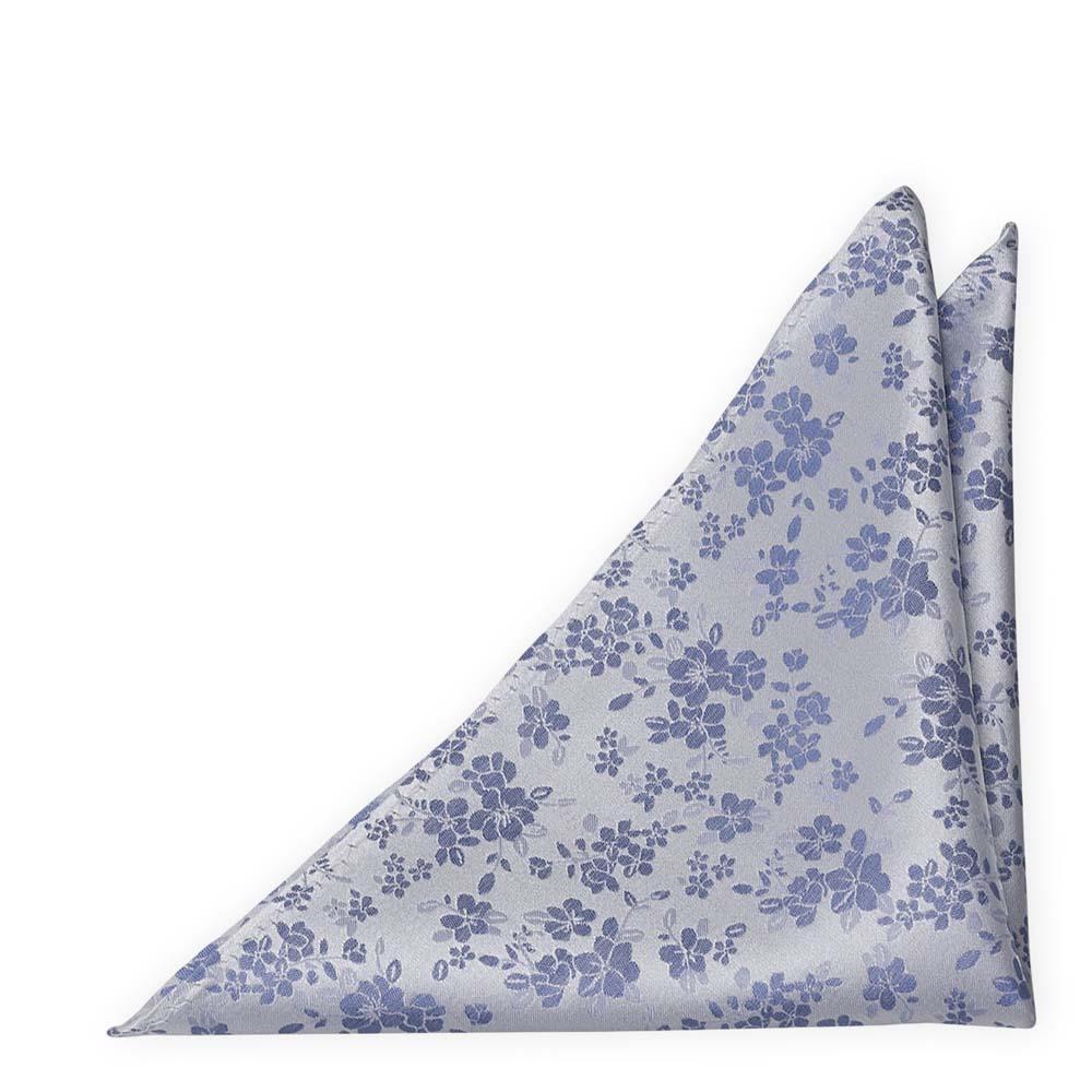 Silke Lommetørkler, Blå blomster på sølvfarget, puldderblå base