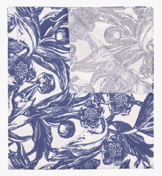 Ink Floral pintakäsitelty pöytäliina sininen