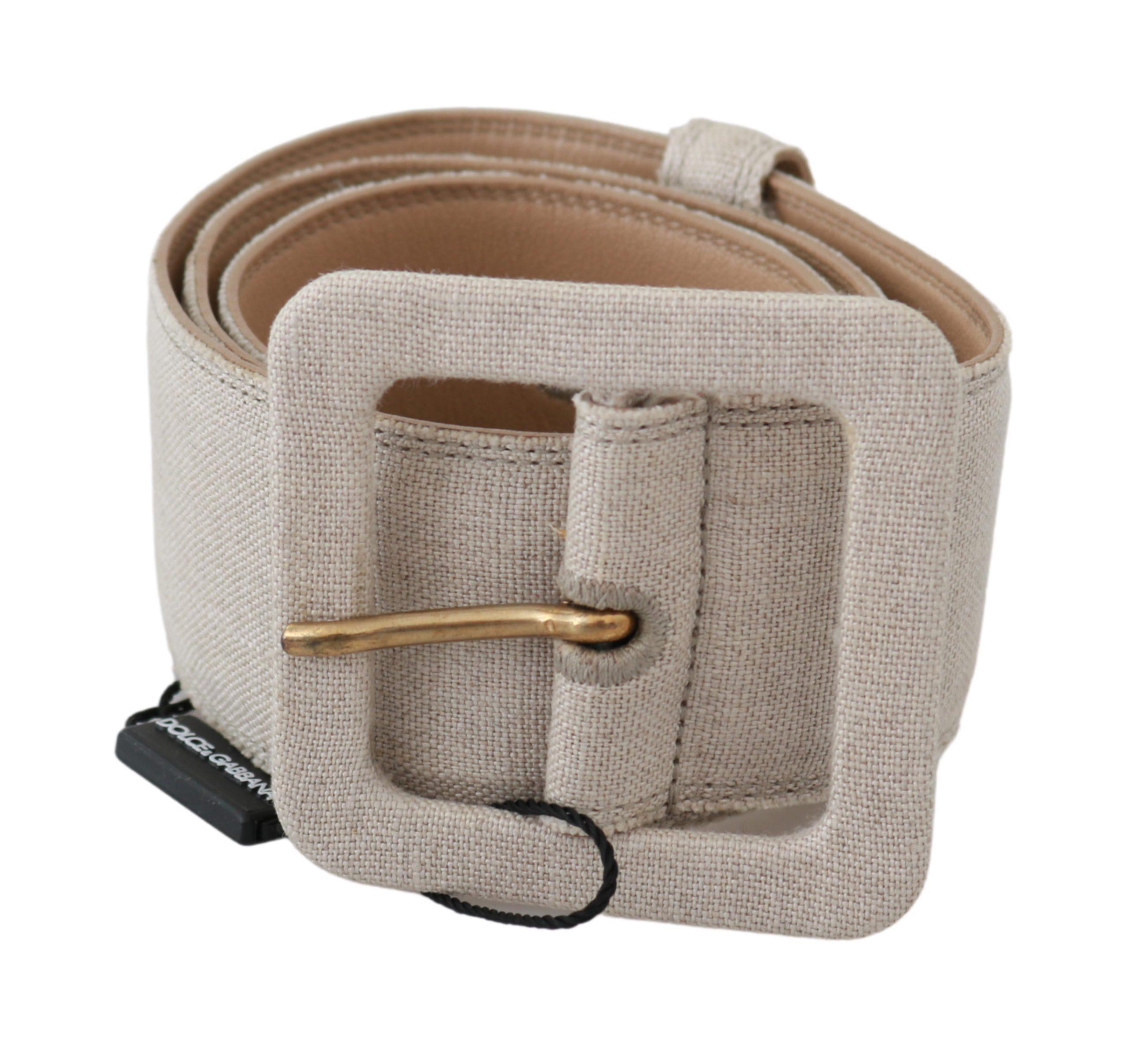 Dolce & Gabbana Women's Square Buckle Waist Linen Belt Beige BEL60553 - 70 cm / 28 Inches