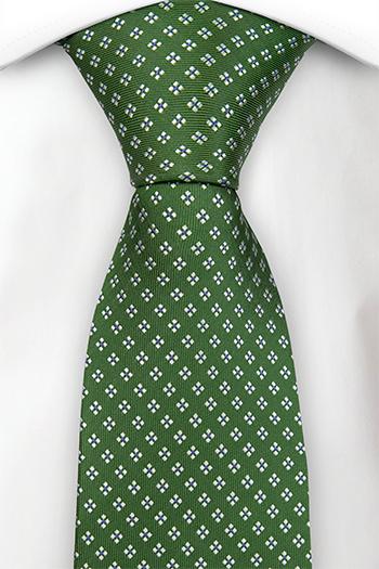 Silke Slips, Olivengrønn kyper, firkantete hvite blomster, Grønn, Småmønstret