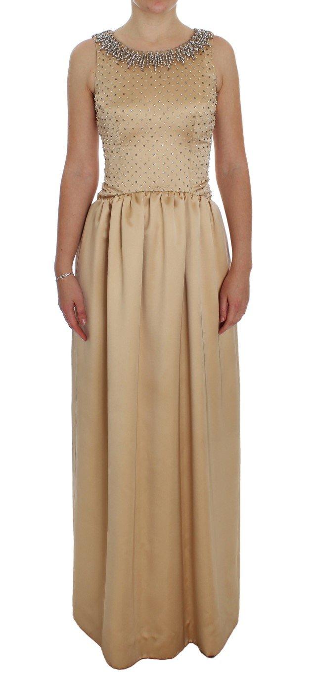 Dolce & Gabbana Women's Crystal Embellished Shift Dress Beige NOC10183 - IT40 S
