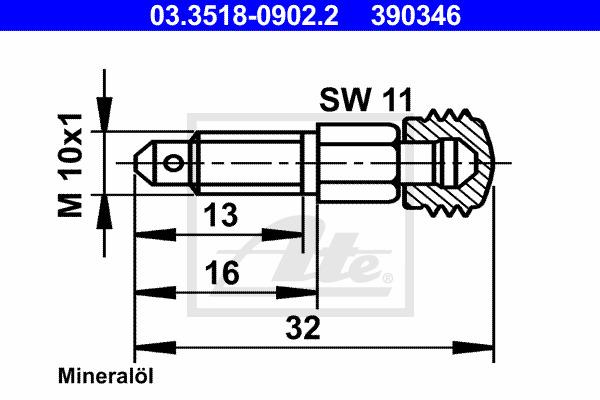Huohottimen pultti / venttiili ATE 03.3518-0902.2
