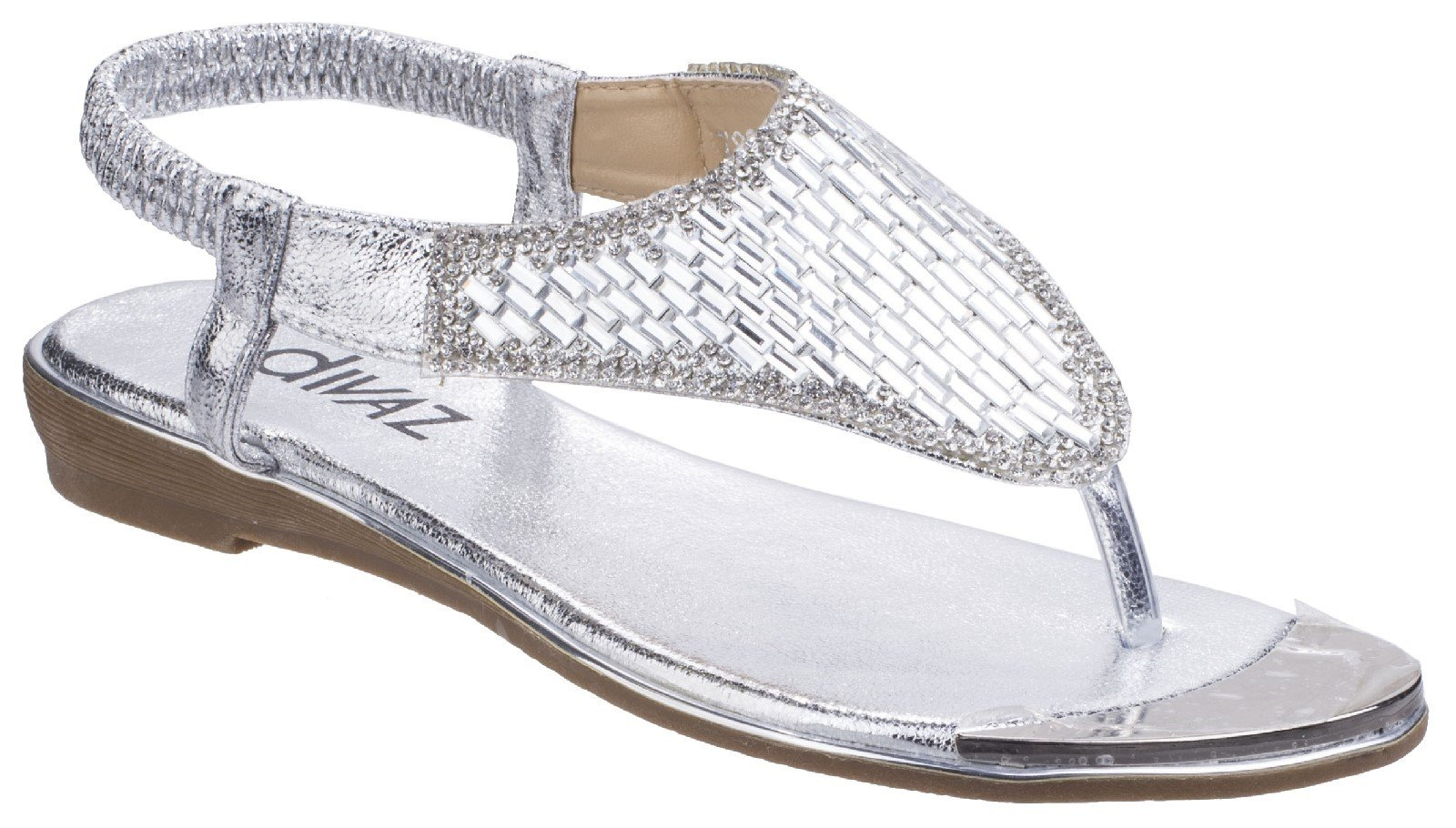 Divaz Women's Kirsty Toe Post Sandal Various Colours 26331 - Silver 3