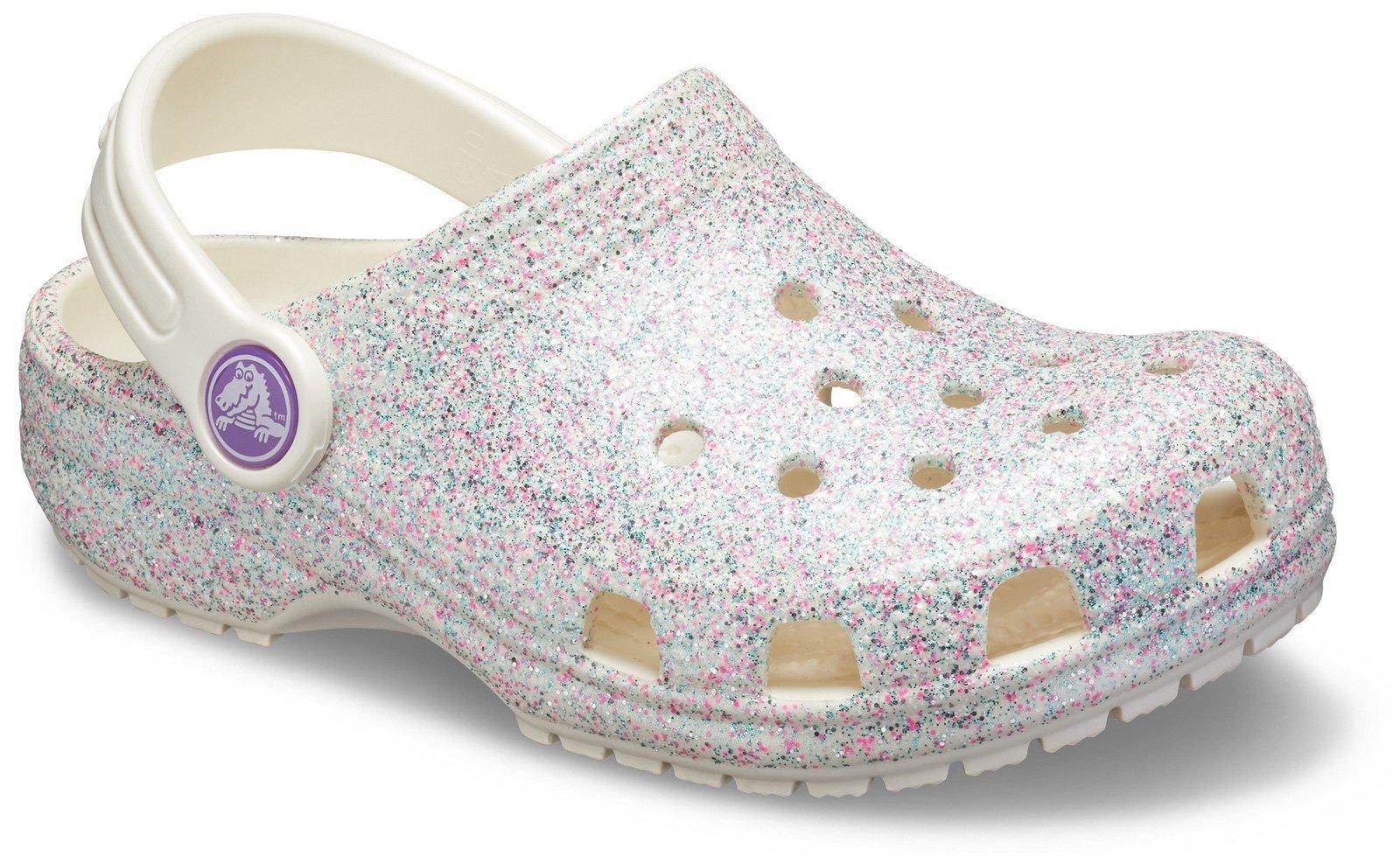 Crocs Kid's Classic Glitter Clog Slip On Sandal Oyster 27505 - Oyster 4 UK