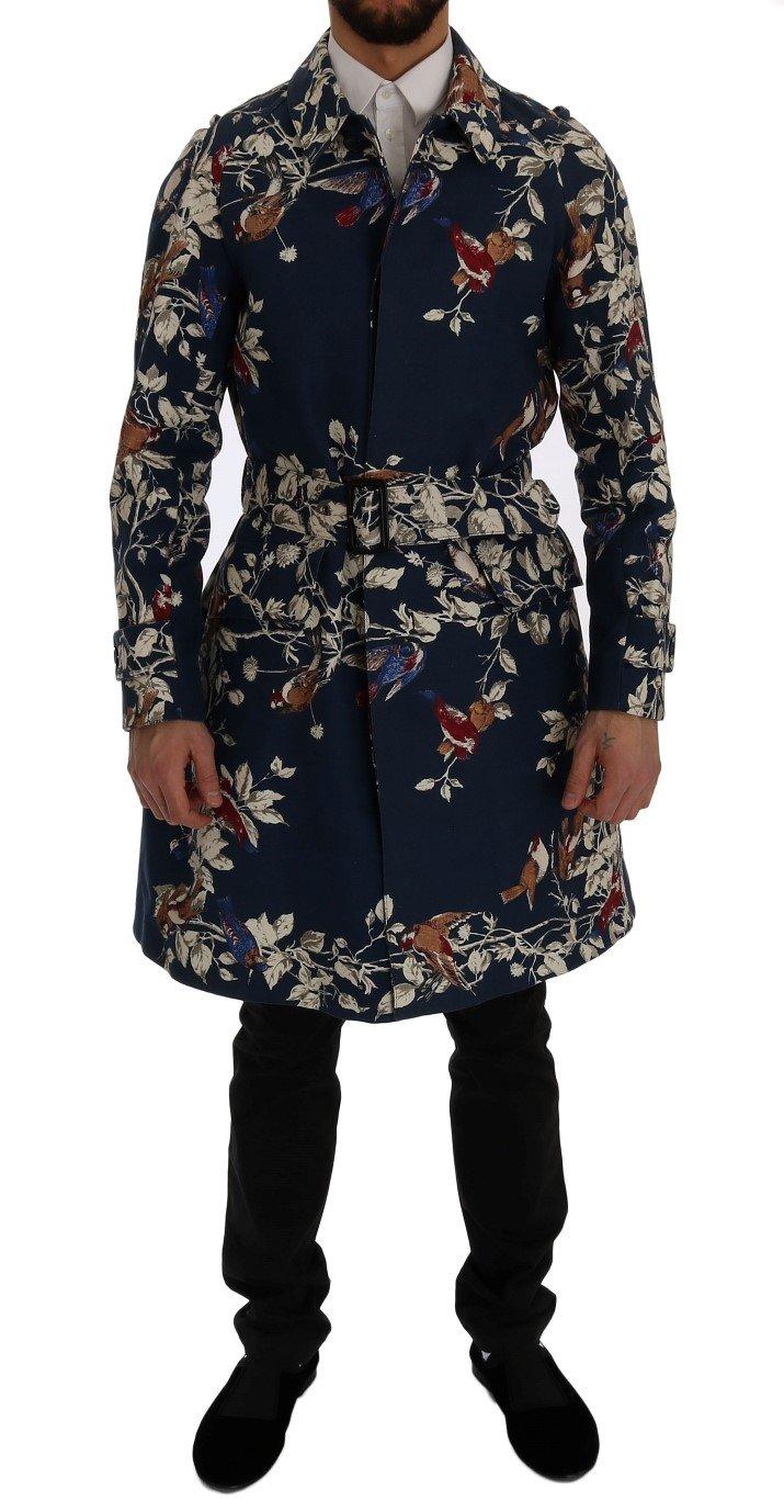 Dolce & Gabbana Men's Bird Cotton Trench Coat Blue SIG60310 - IT48   M