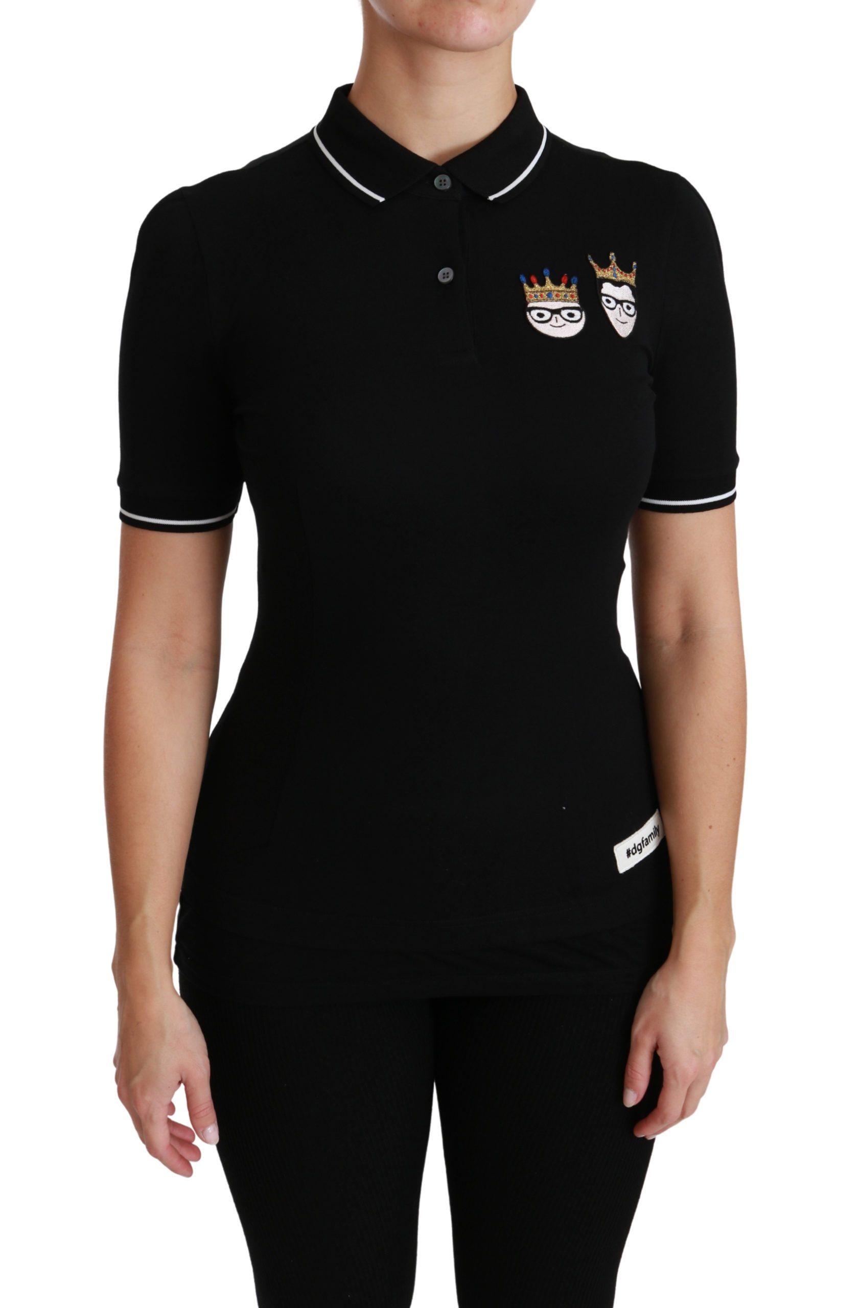 Dolce & Gabbana Women's Cotton DG Polo Shirt Black TSH4450 - IT36 | XS