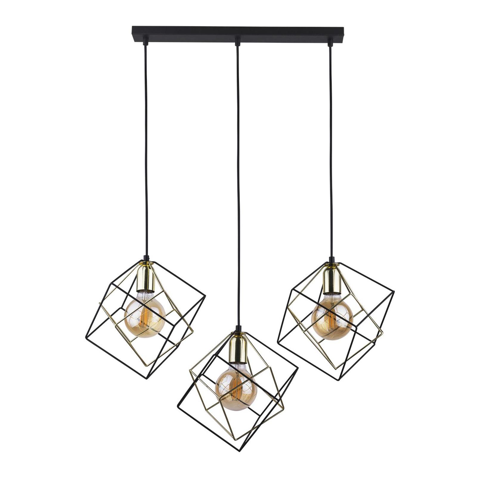 Riippuvalaisin Alambre 3-lamp suora, kulta/musta