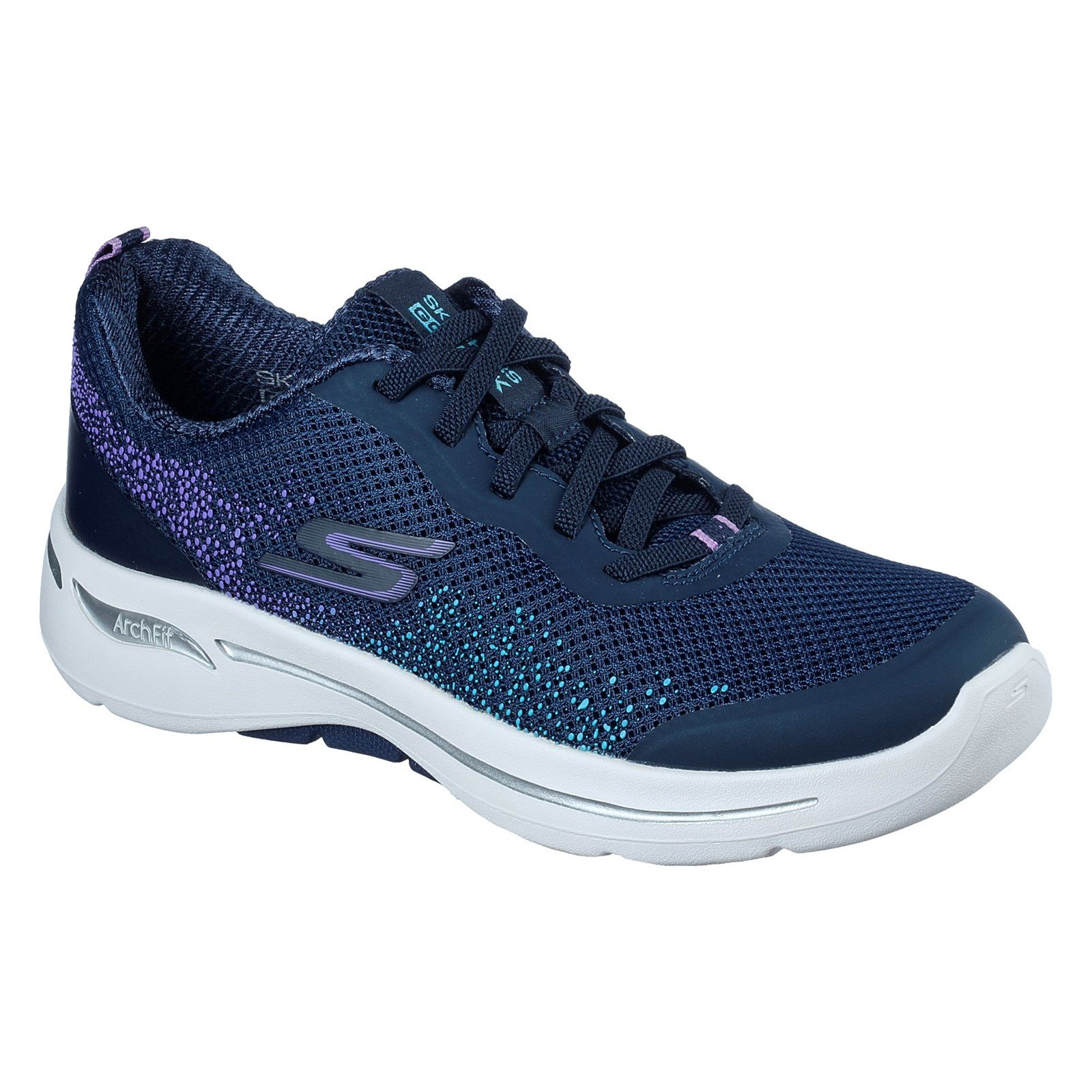 Skechers Women's Go Walk Arch Fit Flying Stars Trainer Various Colours 32841 - Navy/Lavender 7